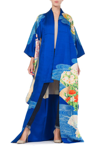 Hand Printed & Hand Embroidered Silk Japanese Kimono