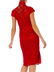 Morphew Collection Red Floral Embroidered Net Mandarin Style Fully Lined Dress