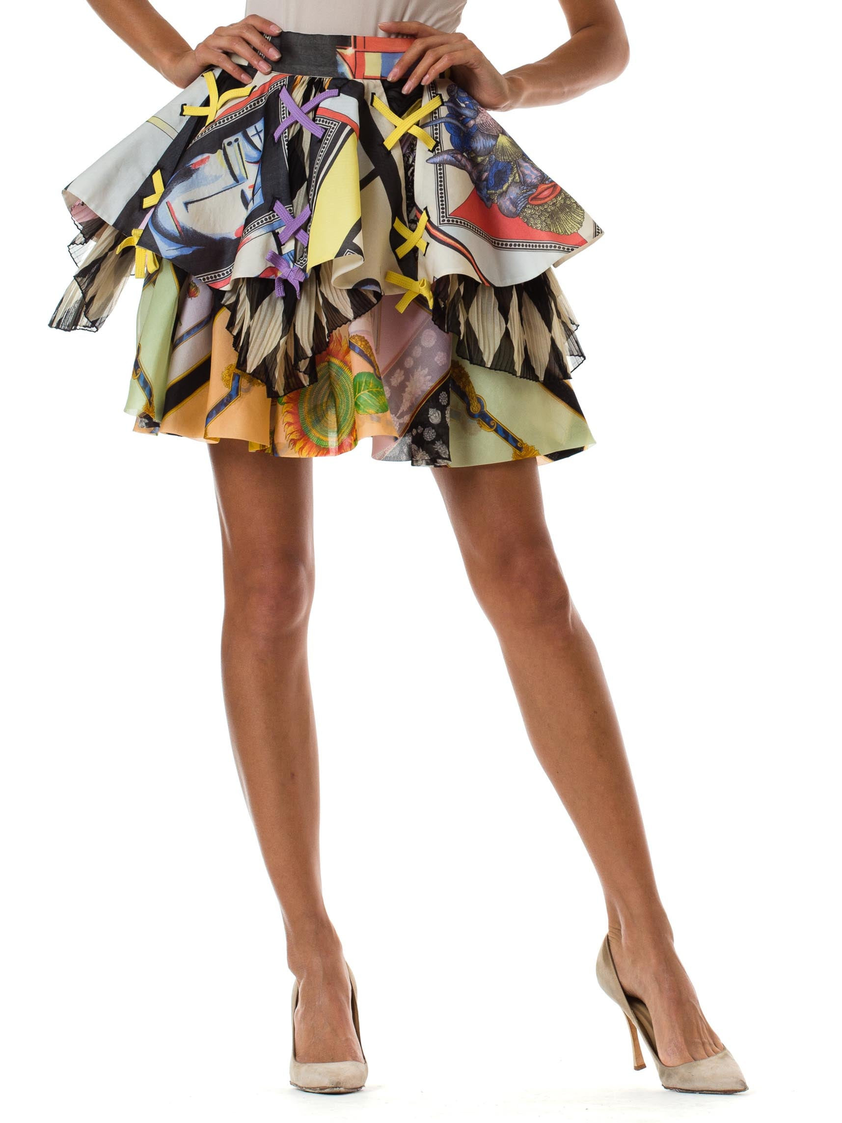 1990S GIANNI VERSACE Bright Multicolor Silk Organza Skirt Spring 1992