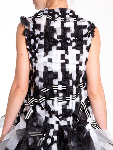 1980S Morphew Collection Viktor & Rolf Style Black And White Woven Sequined  Vest