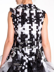 1980s Black and White Woven Checkerboard Pattern Sequin Velvet Detail Vest Victor Rolf style