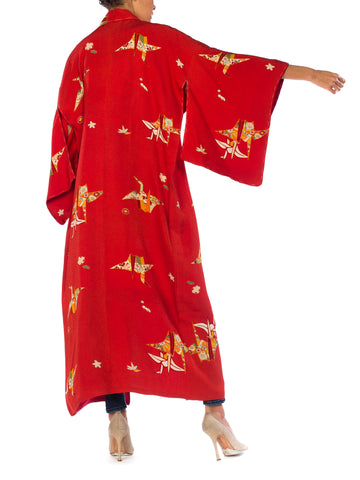 1960S Red Silk Asian Floral Paper Crane  Kimono Long Length