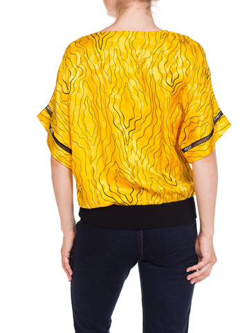 1980S NINA RICCI Black & Yellow Silk Jaquard Squiggle Print T-Shirt Blouse