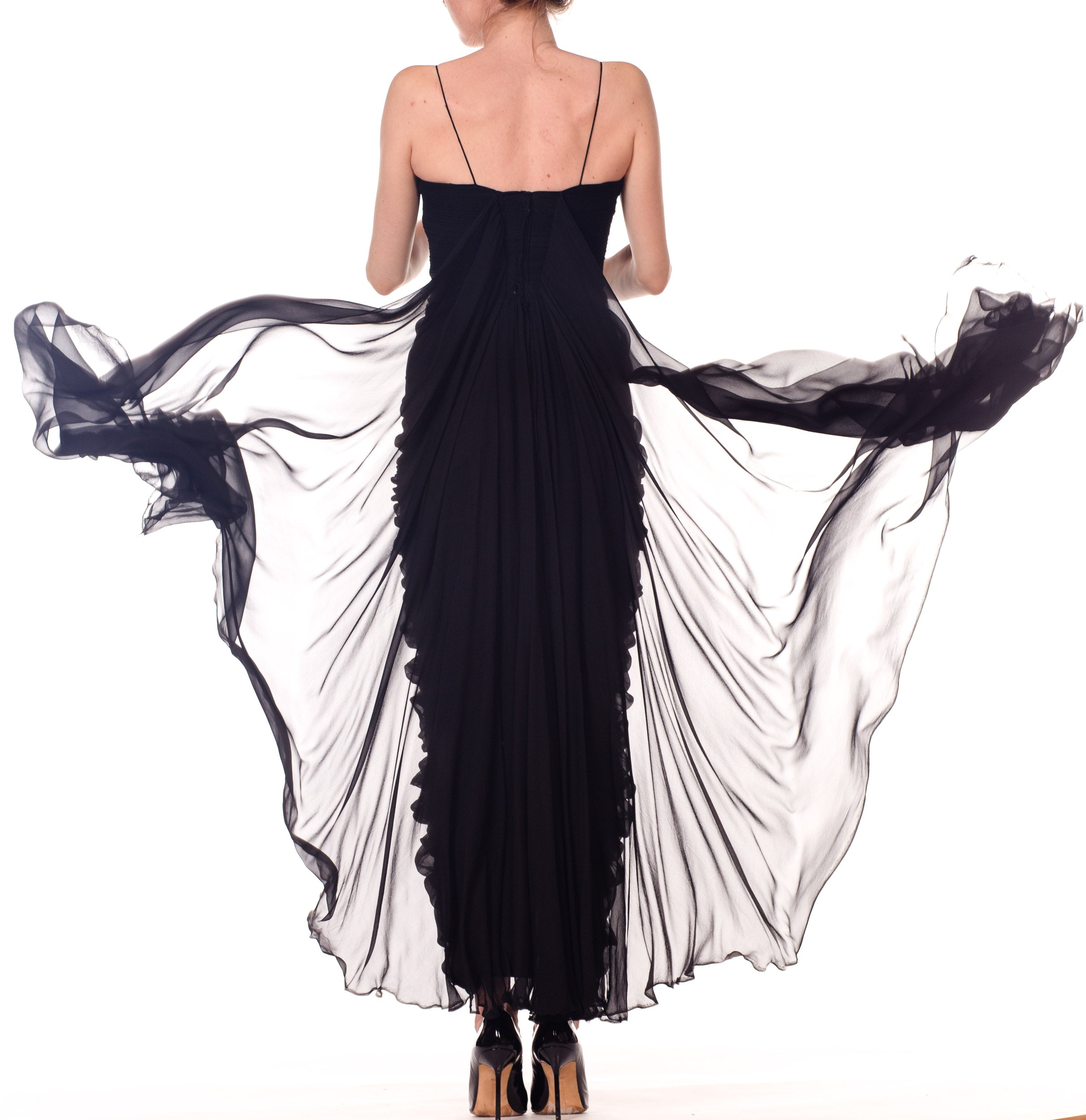 1950S BETTY LYNNE Black Silk Chiffon Demi-Couture Bombshell Evening Gown