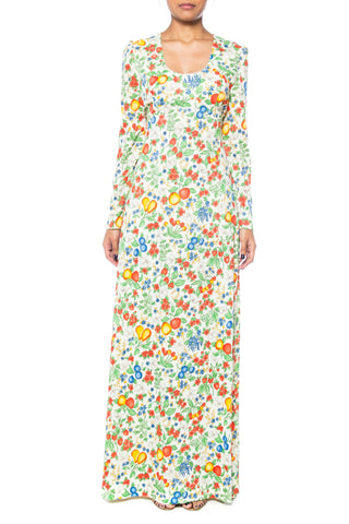 1970s Floral and Fruit Print Maxi Dress