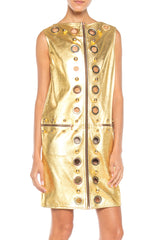 Studded Gold Leather Mod Zipper Dress