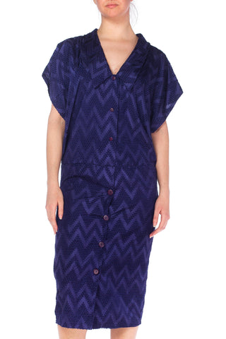 1980s Navy Blue Dress With Woven Zig Zag