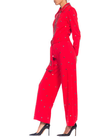 1970S Wool Knit Bright Crimson Metal Studded Disco Jumpsuit