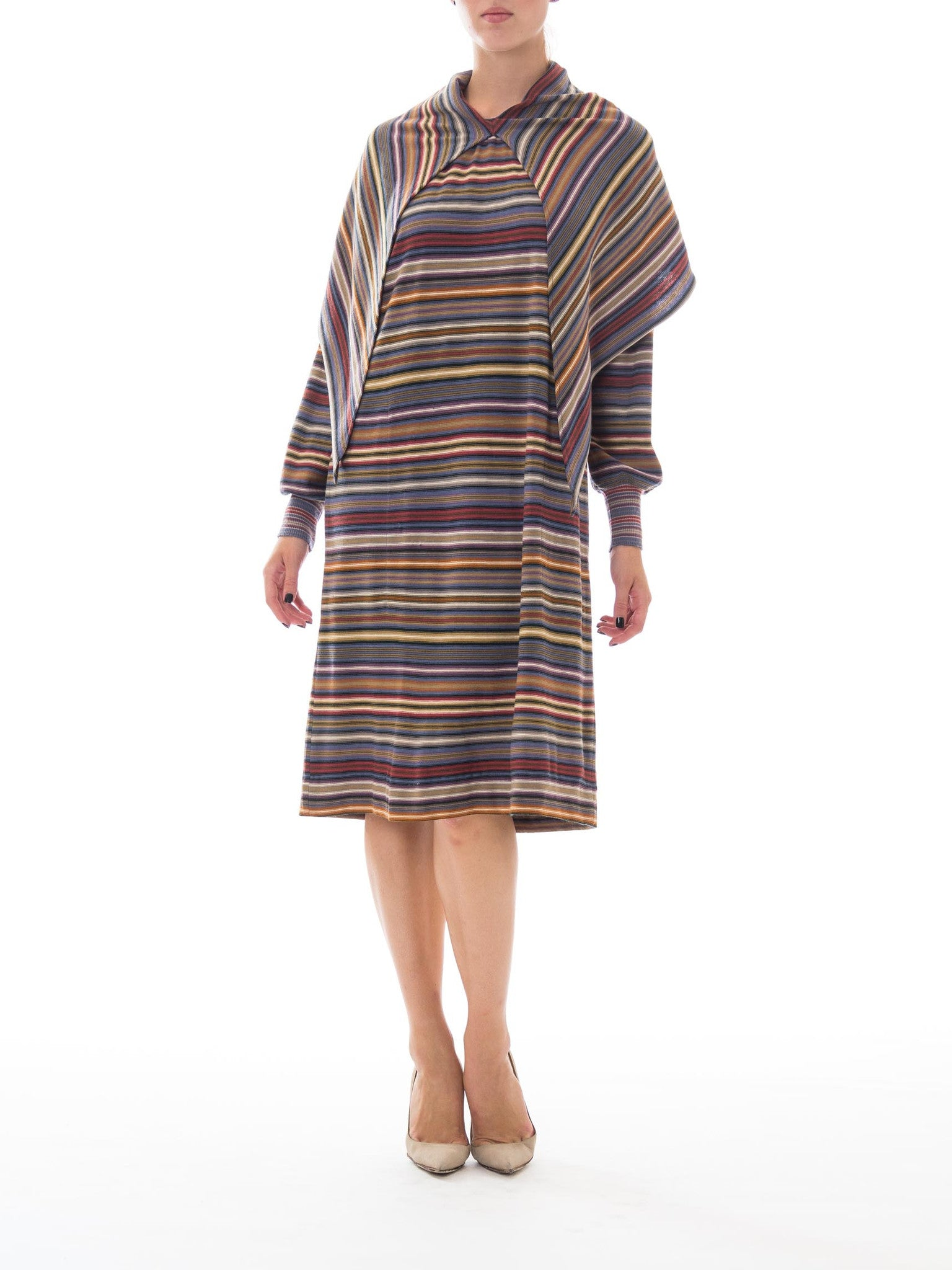 1970S MISSONI Striped Wool Knit Dress With Attached Scarf/Hood