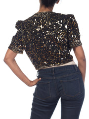 1930s 1940s Gold Sequined Bolero Jacket