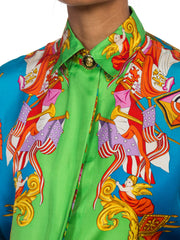 1990s Gianni Versace Atelier Silk Blouse With Scottish & Chinese Dragons