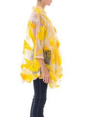 1980s Abstract Yellow Brushstroke Print Raincoat