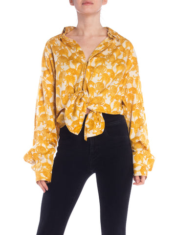 1990S VERSUS GIANNI VERSACE Black & Gold Cotton Sateen Leopard Print Shirt