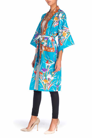 1970S Turquoise Floral Polyester Tropical Print Kimono Robe With Sash Belt & Pockets
