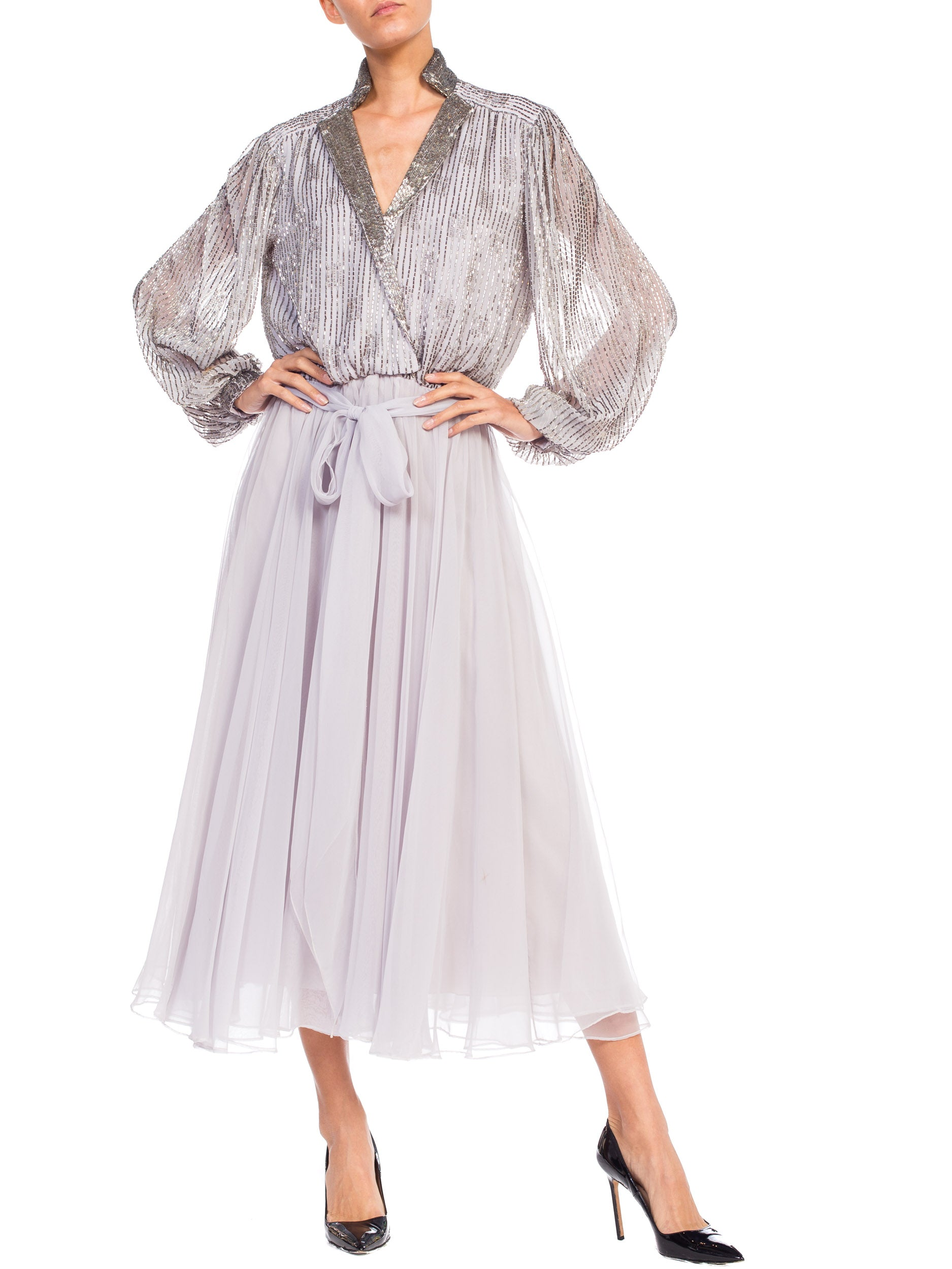 1970S  Grey Polyester Chiffon Low-Cut Beaded Tea Length Gown With Baloon Sleeves