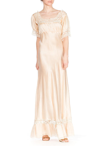 1940S Blush Pink Bias Cut Silk Charmeuse  Slip Dress With Puff Sleeves & Lace