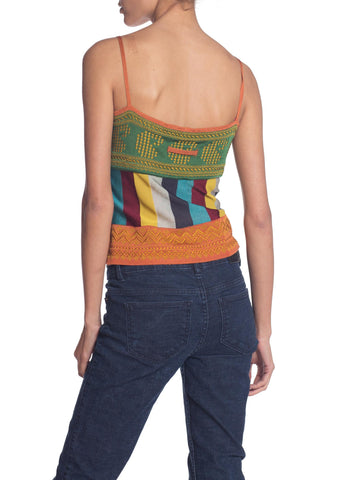 1990S Jean Paul Gaultier Rayon Knit Indian Inspired Camisole