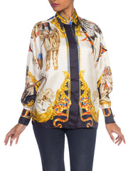 1990s Gianni Versace Native American Buffalo Bill Silk Blouse