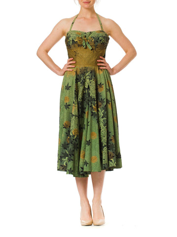 1940s Alfred Shaheen Tropical Hawaiian Rockabilly Halter or Strapless Adustable Dress