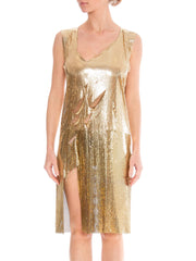 Rock and Roll in Solid Gold Slashed Metal Mesh Dress