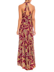 1930s Plum Paisley V-Neck Bias Cut Maxi Dress