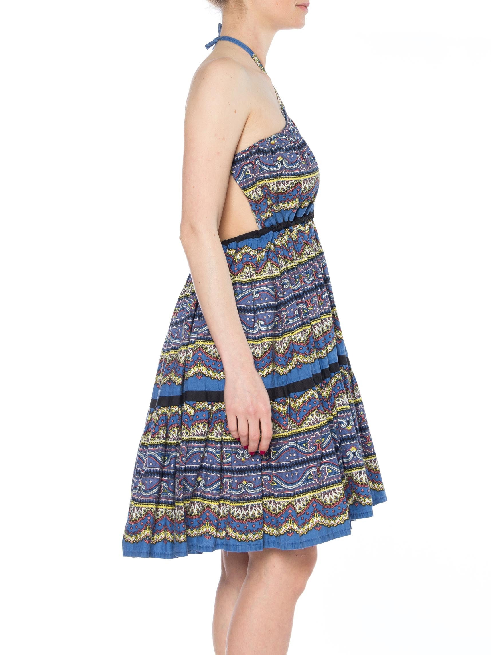 MORPHEW COLLECTION Blue & White Paisley Cotton Halter Dress Made From A 1950S Skirt