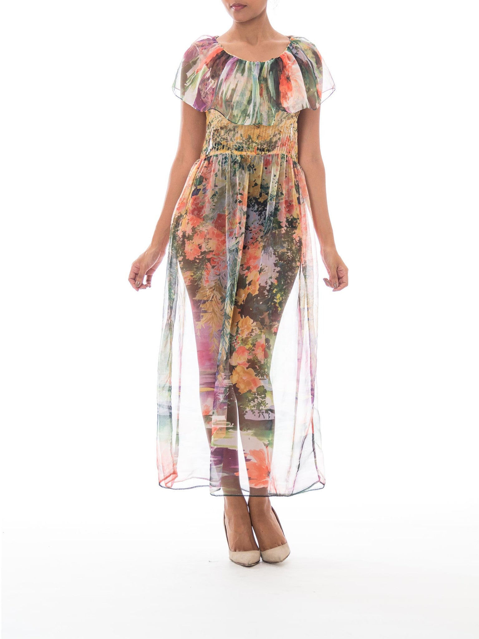 1970s Boho Sheer Chiffon Watercolor Floral Printed Maxi Dress w/ Picture Collar