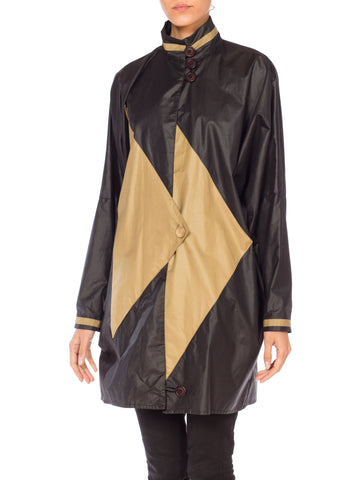 1980S Black & Beige Cotton Oversized Modernist Coat Jacket