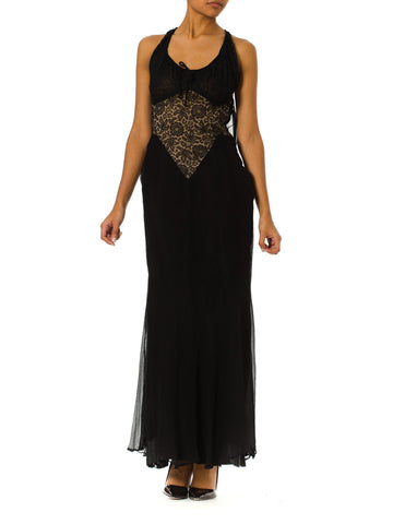 Morphew Lab 1930s bias Lace Chiffon Strappy Flowy Gown
