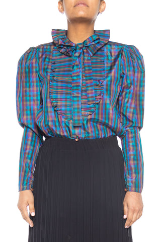 1980s Jewel Tone Check Taffeta Blouse with Pleated Collar