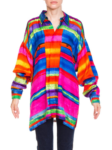 1990s Gianni Versace Colorblock Silk Shirt with Sheer Net Back Panel