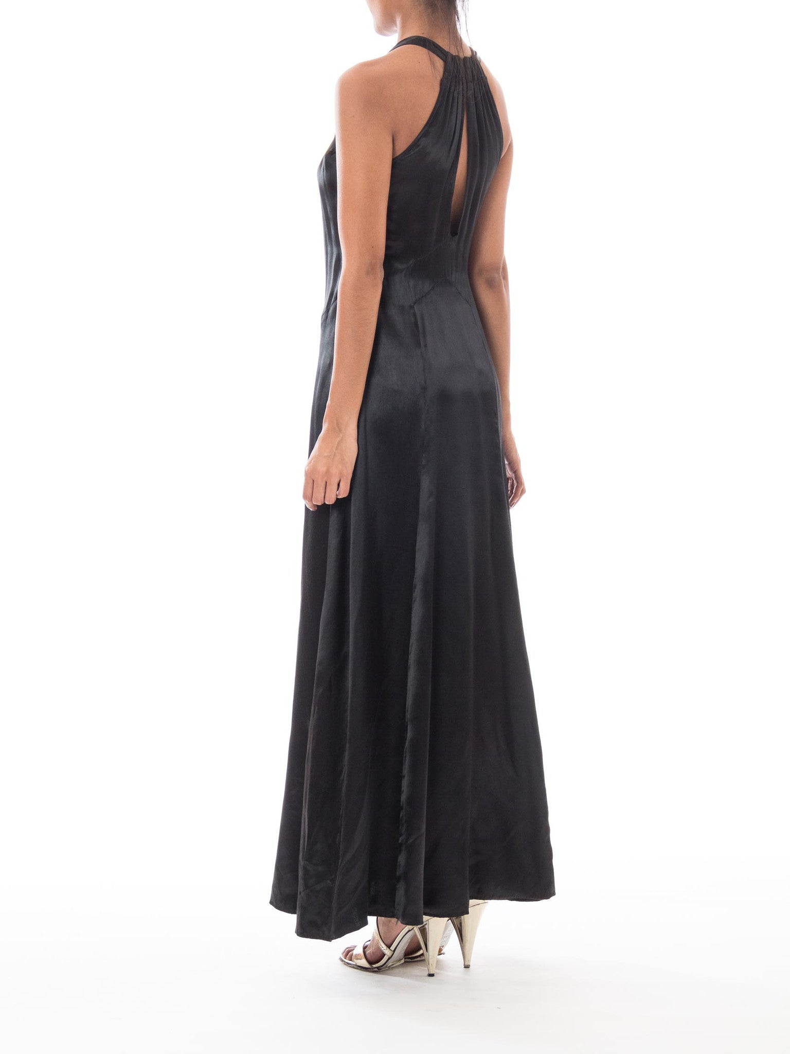 1930S Black Silk Satin Halter Bow Neck Gown
