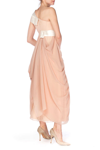 Poly Nude Assymetrically Draped Gown Dress