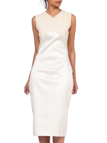 1990S GIANNI VERSACE Cream Silk Satin Sharply Fitted Dress With Stretch Wool At The Bust