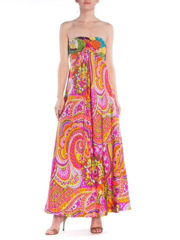 1960s Leonard Psychedelic Paisley Sequin Bandeau Cutout Evening Gown