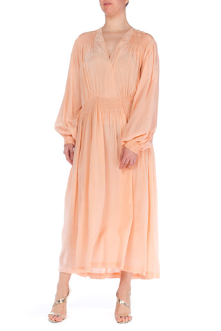 1930s Smocked Long Sleeve Negligee