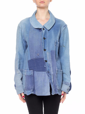 Blue Patched and Tattered French Workwear Shirt