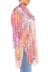 1980S Pink Tie Dyed Silk Burnout Chiffon Cowl Neck Blouse