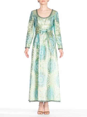 1960S OSCAR DE LA RENTA Aquamarine Silk & Lurex Damask Metallic Mod Floral Empire Waist Gown With Blue Crystal Beaded Trim