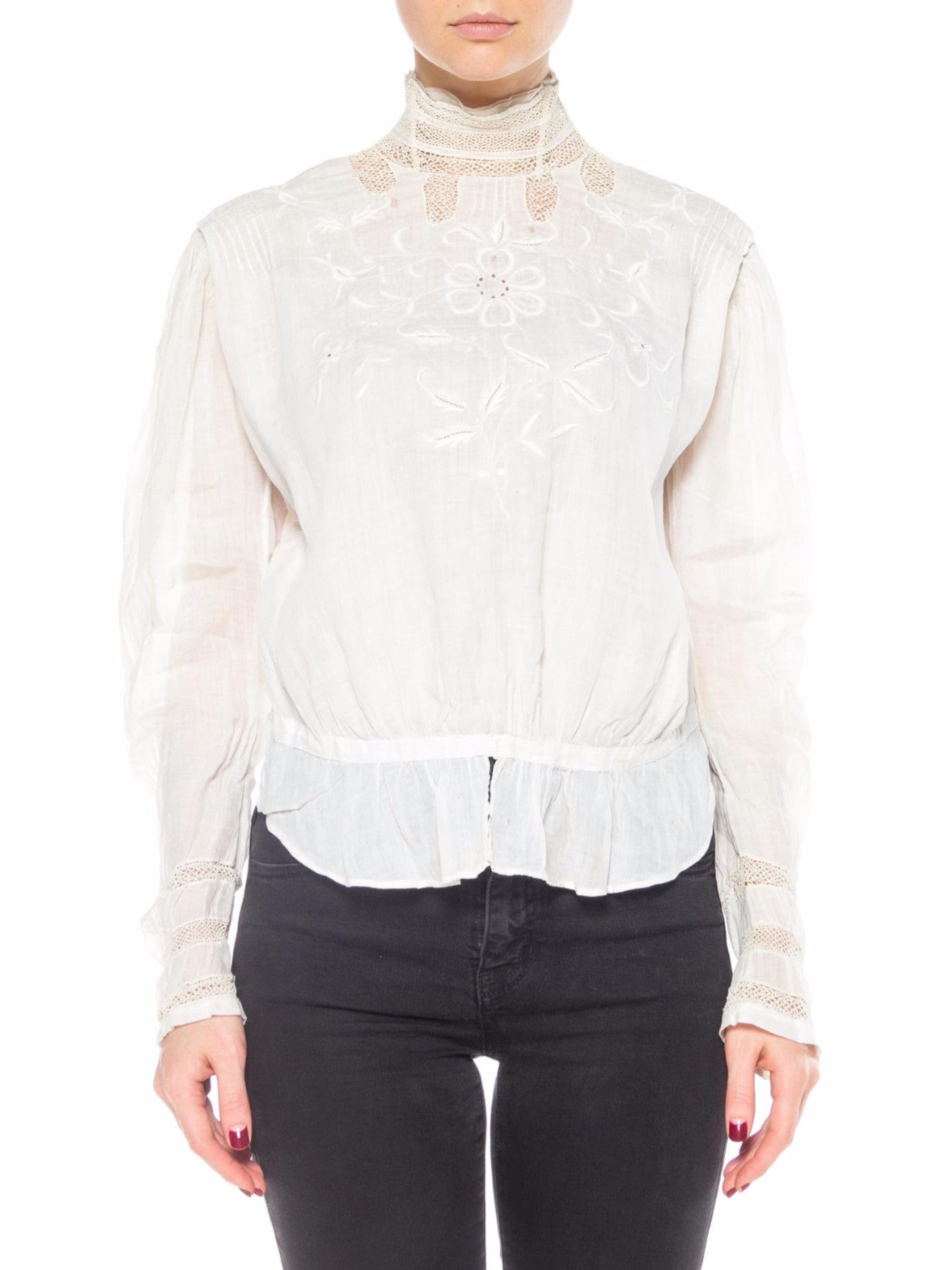 Victorian White Lace Top with Floral Embroidery and High Neck