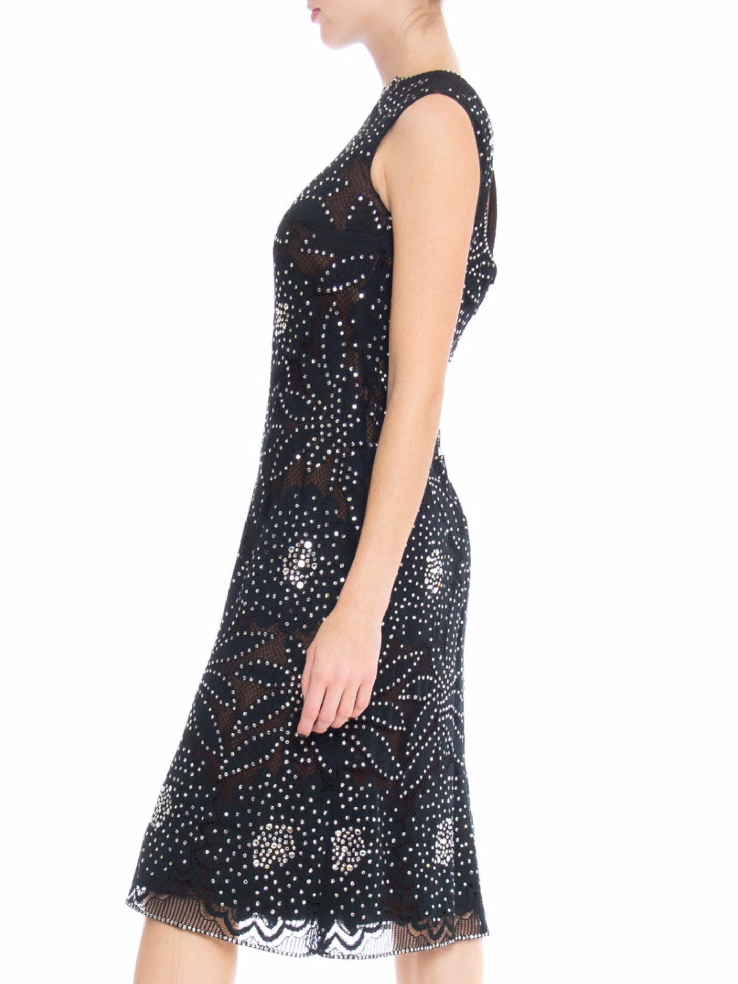 1960S Black Silk Chiffon Cocktail Dress Overlaid With Crystal Daisy Lace