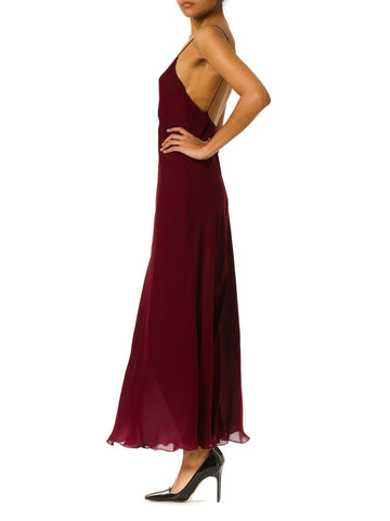 1990S Donna Karan Burgundy Bias Cut Silk Chiffon Slip Dress