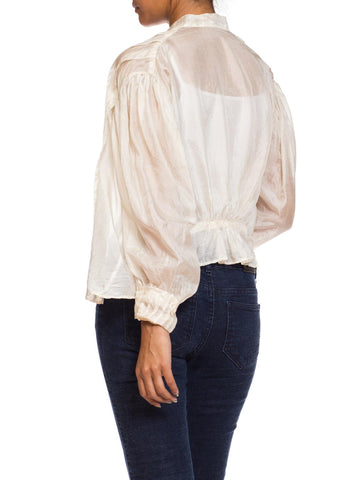 Edwardian Cream Silk Feather Weight Jacket Blouse With Poof Sleeves