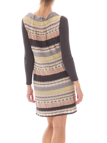 1990S Missoni Grey & Peach Wool/Silk Sweater Dress With Silk Slip