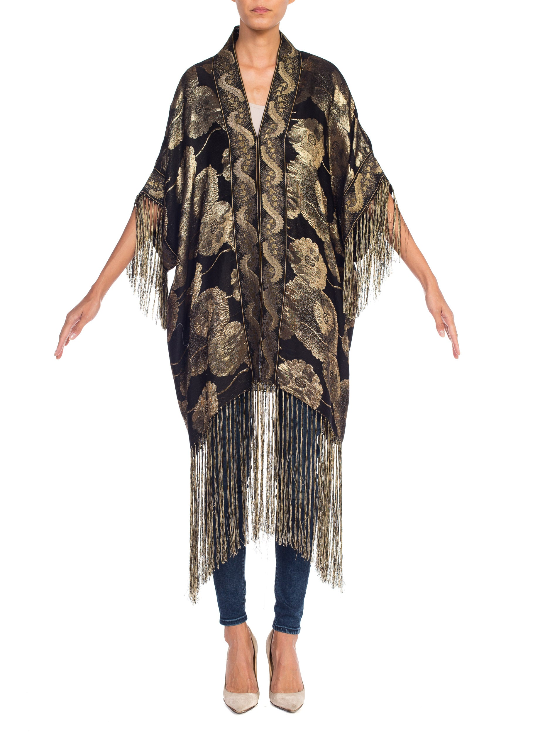 Morphew Collection Floral Gold Lamé Kimono With Antique Trim & Silk Fringe