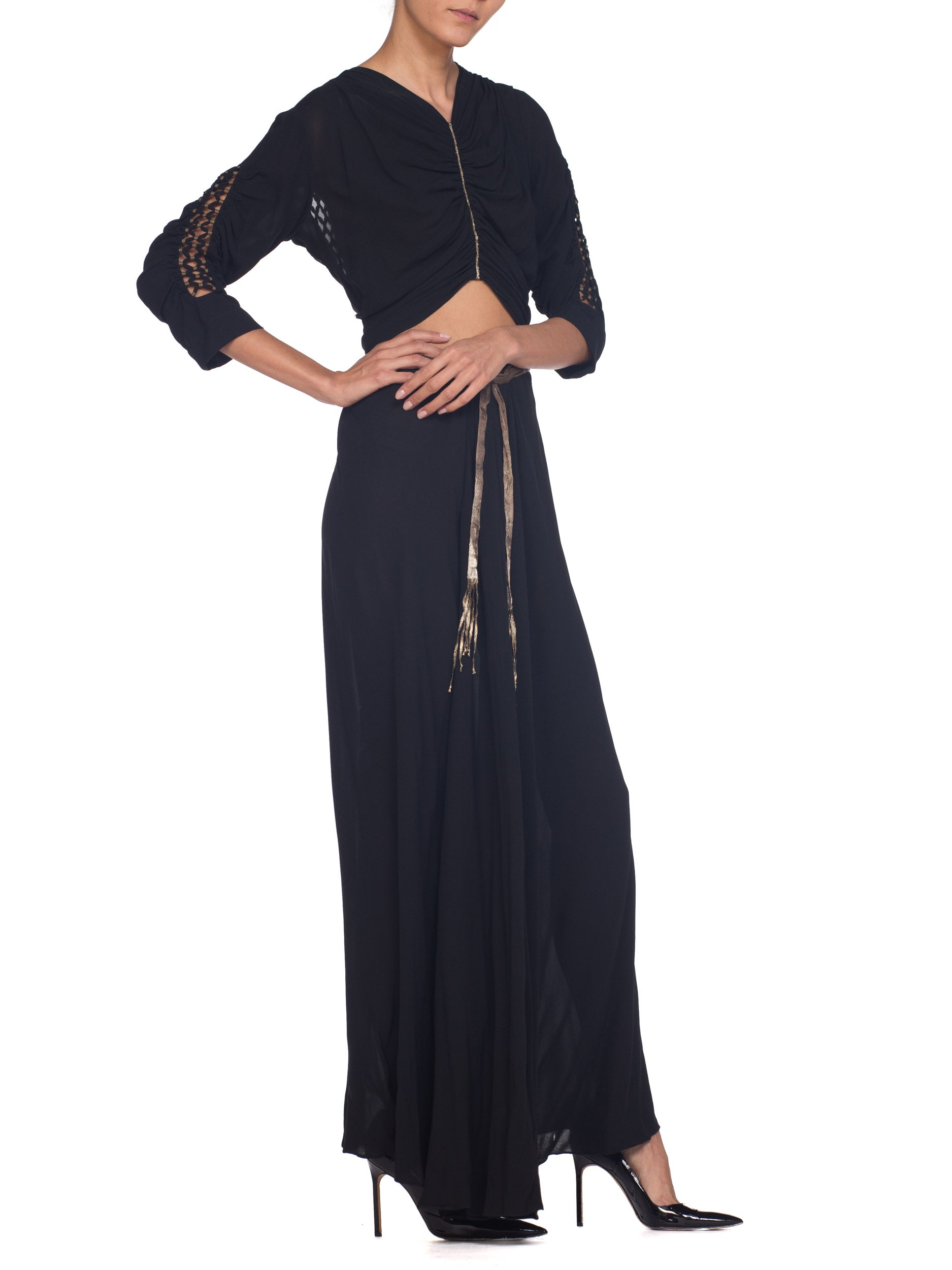1930S Black Haute Couture Silk Chiffon Bare Midriff  Gown With Silver Lamé Detailed Lattice Work From Paris