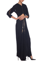 30s lame and lattice back black silk dress