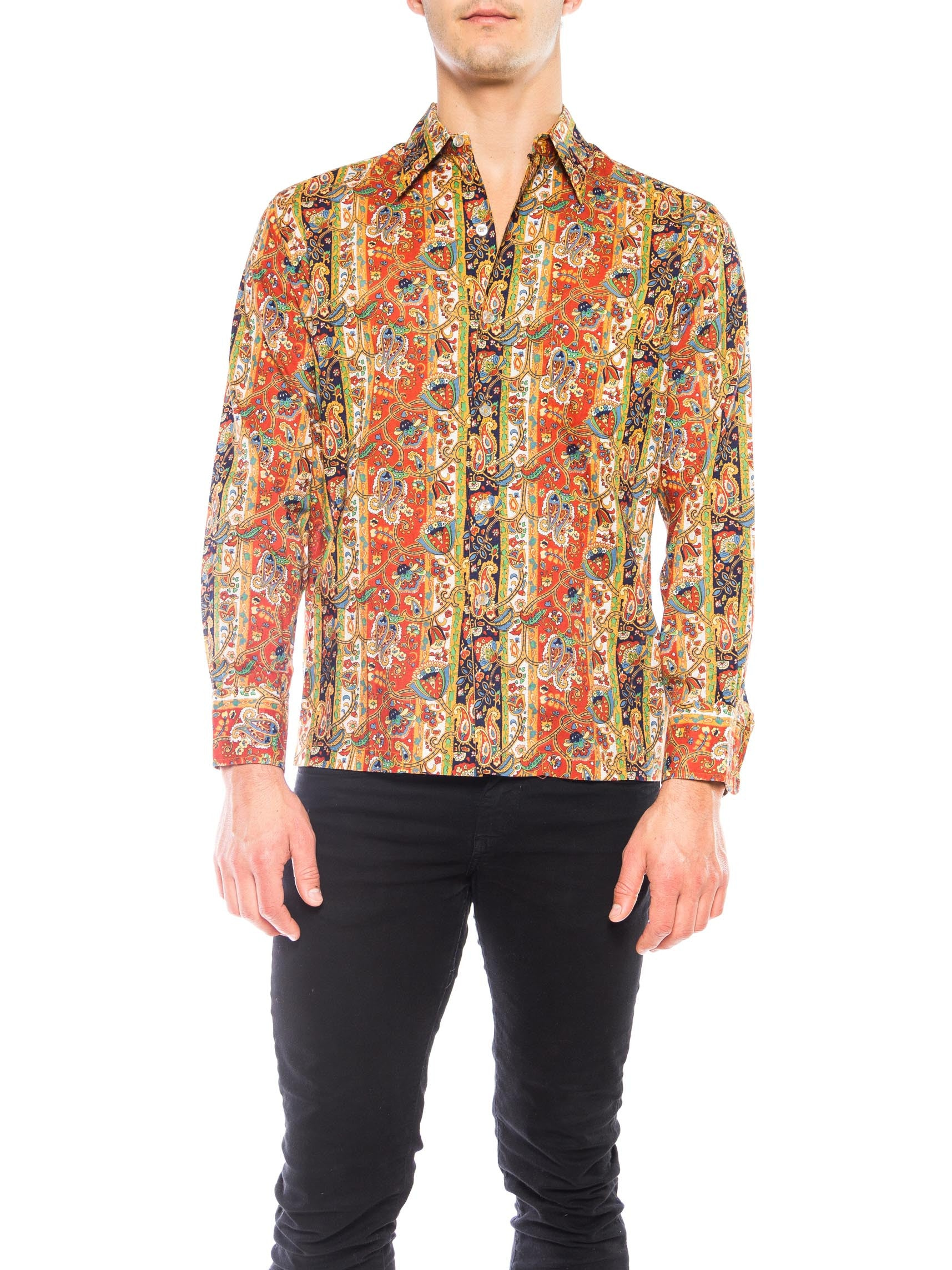 1960s Men's Paisley Printed Cotton Shirt