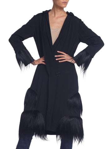 1920S Black Silk Crepe De Chine Drop Waist Wrap Coat With Fur Trim