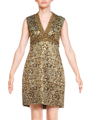 1960s Mod Oscar de La Renta Metallic Floral Cocktail Dress With Gold Braid and Crystals